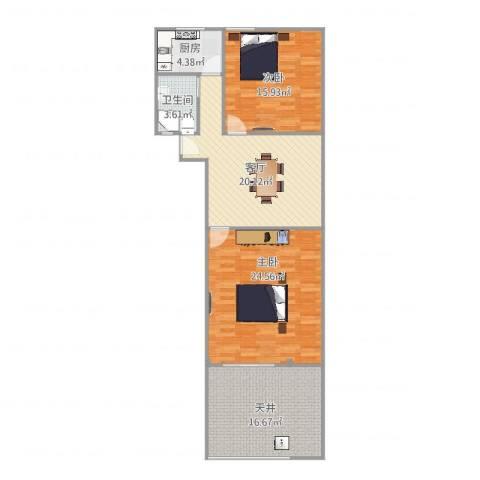 贝尔新村2室1厅1卫1厨114.00㎡户型图