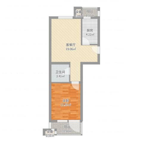 华贸公园郡1室2厅1卫1厨55.00㎡户型图