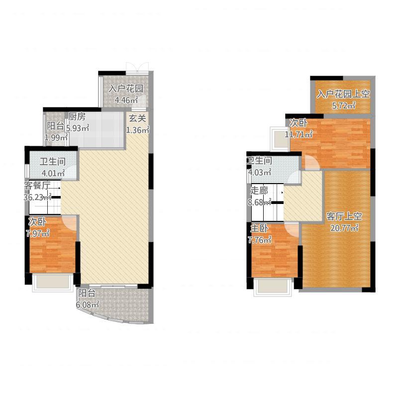 金山湖3中锴华章三期5714栋(复式)户型177平米