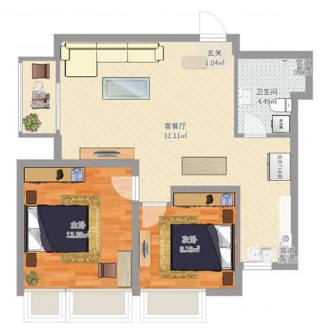 万恒・愿景2室2厅2卫1厨76.00㎡户型图