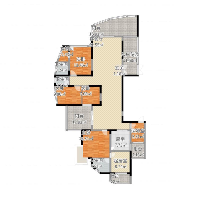 金山湖3中锴华章天锦,5室2厅3卫,约231.58平米
