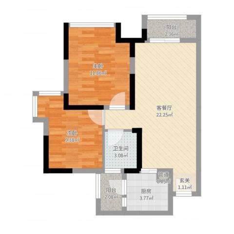 万象凯旋湾2室2厅1卫1厨69.00㎡户型图
