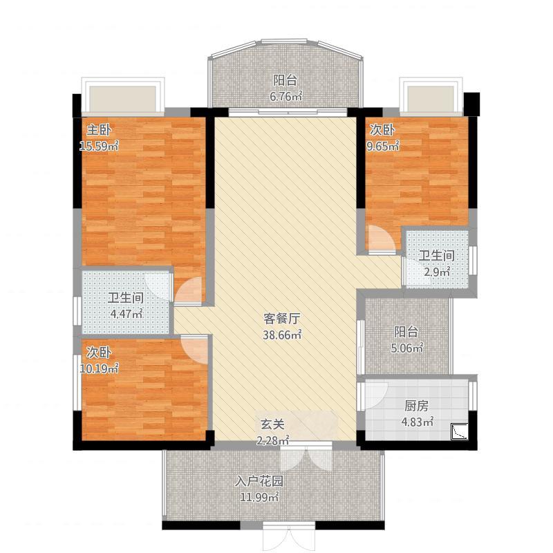 金山湖3中锴华章三期15栋03户型1155平米