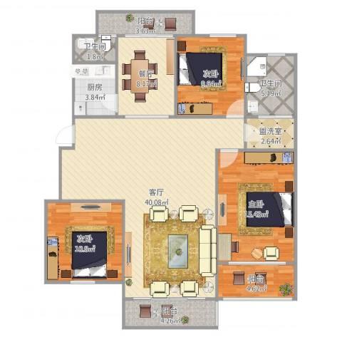 爱法新都3室4厅2卫1厨138.00㎡户型图