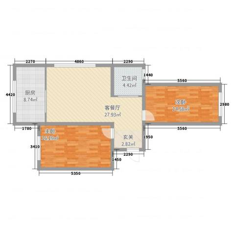 瑞馨佳园2室2厅1卫1厨101.00㎡户型图