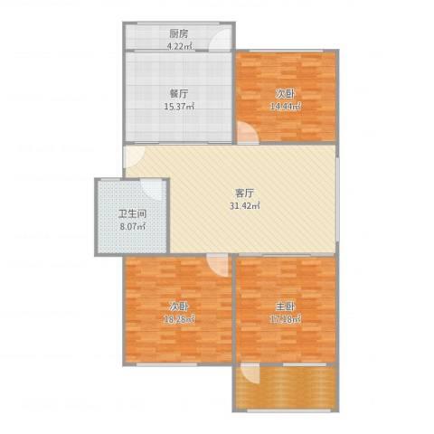 回民小区3室2厅1卫1厨145.00㎡户型图