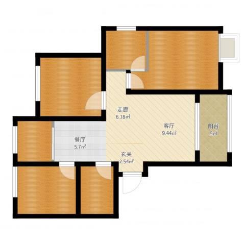 天正银河湾3室1厅1卫2厨88.00㎡户型图