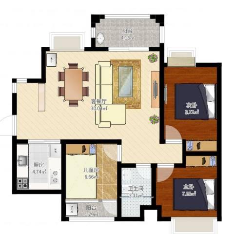 石排世纪城国际公馆3室2厅1卫1厨85.00㎡户型图