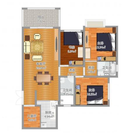 江南新苑4室2厅2卫1厨112.00㎡户型图