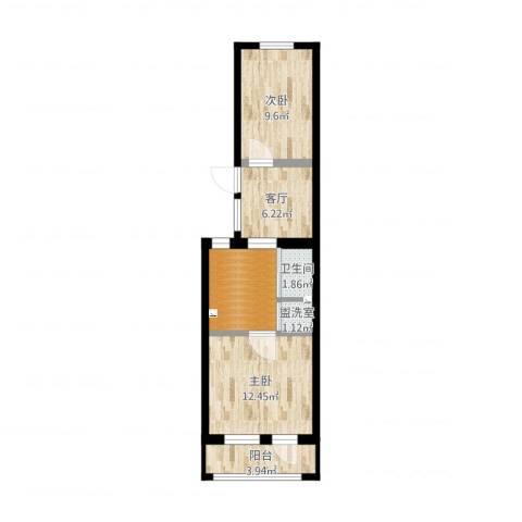 西革新里2室3厅1卫1厨42.04㎡户型图