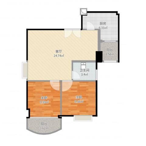 又一居2室1厅1卫1厨75.00㎡户型图