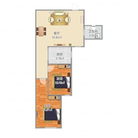 朝阳花园2室1厅1卫1厨83.00㎡户型图