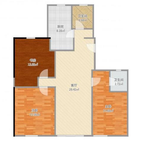 淞虹苑3室1厅2卫1厨110.00㎡户型图