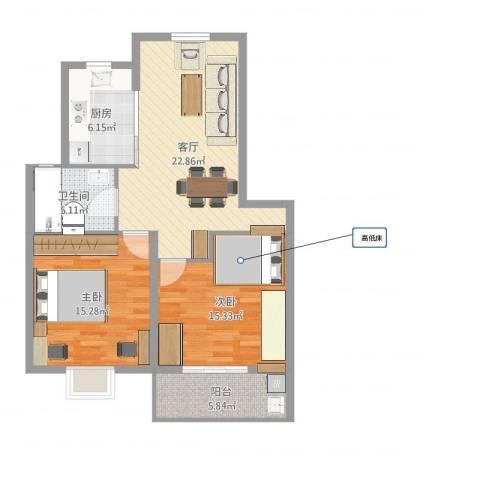 清水湾(水木清庭)2室1厅1卫1厨88.00㎡户型图