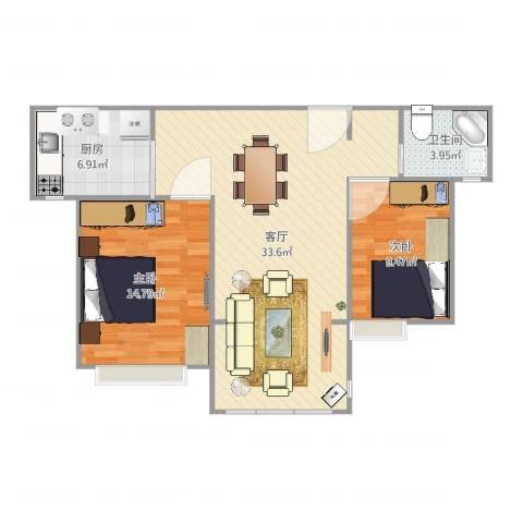 海韵嘉园2室1厅1卫1厨86.00㎡户型图