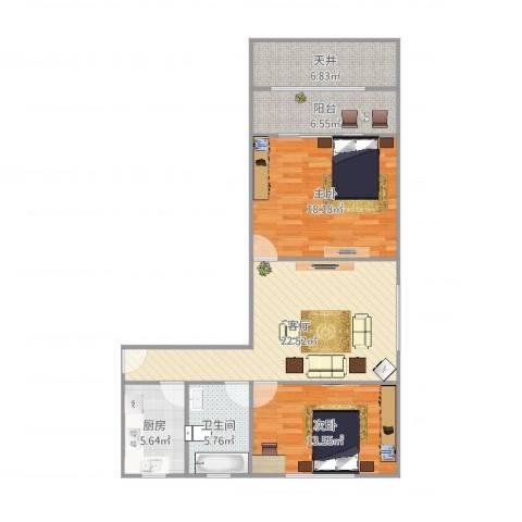 临汾路1564弄小区2室1厅2卫1厨99.00㎡户型图