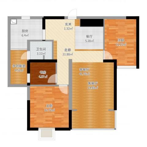 五岭国际3室2厅1卫1厨105.00㎡户型图