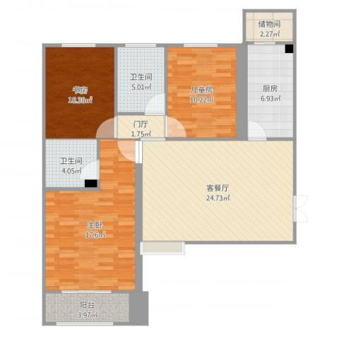 恒隆广场3室2厅2卫1厨109.00㎡户型图