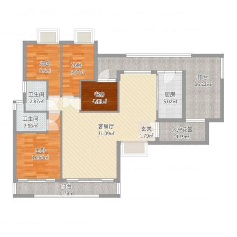 新鹰国际4室2厅2卫2厨121.00㎡户型图