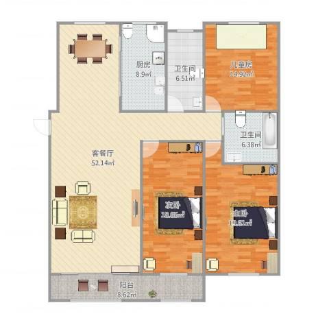大地都市美郡3室2厅2卫1厨170.00㎡户型图