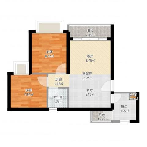 阳光四季2室2厅1卫1厨57.00㎡户型图