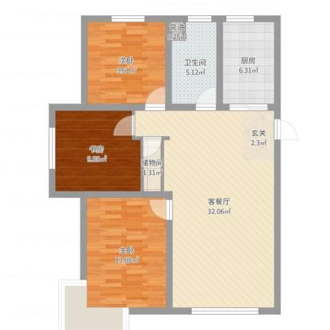 东湖丽景3室2厅1卫1厨97.00㎡户型图