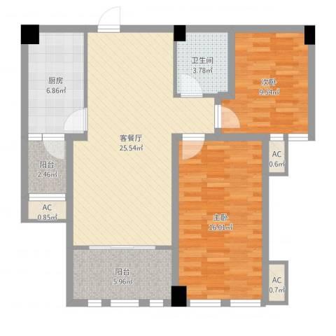 领秀庄园二期2室2厅1卫1厨90.00㎡户型图