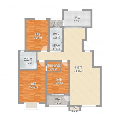 领秀庄园二期3室2厅2卫1厨142.00㎡户型图