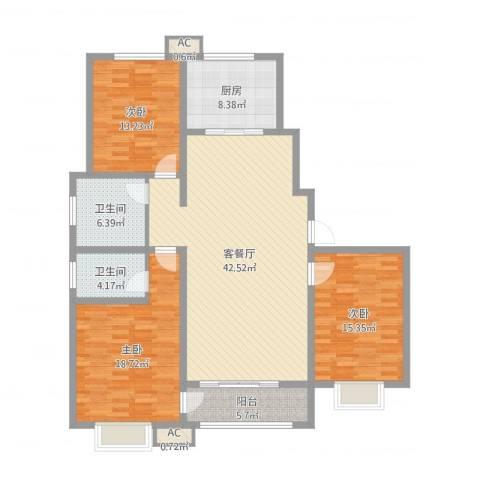 领秀庄园二期3室2厅2卫1厨145.00㎡户型图