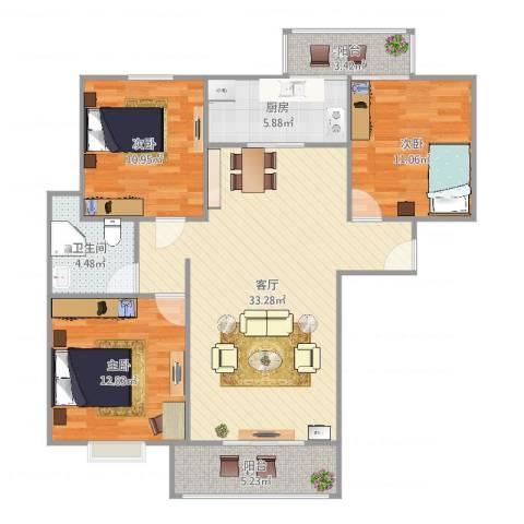 浦江东旭公寓3室1厅1卫1厨117.00㎡户型图