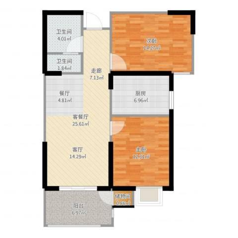 滨河新天地2室2厅2卫1厨91.00㎡户型图