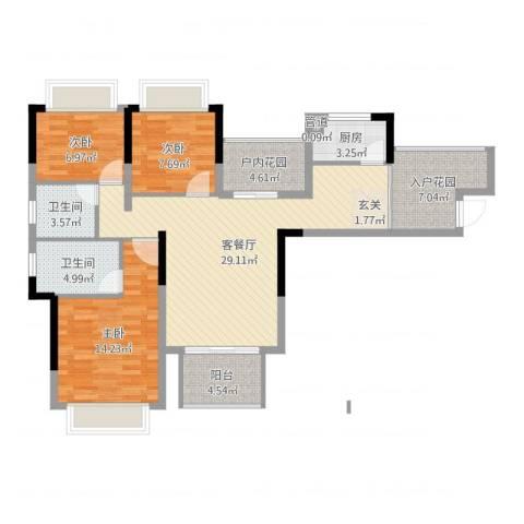 凯光中央华府3室2厅2卫1厨108.00㎡户型图