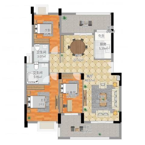 卢浮公馆3室1厅2卫1厨140.00㎡户型图