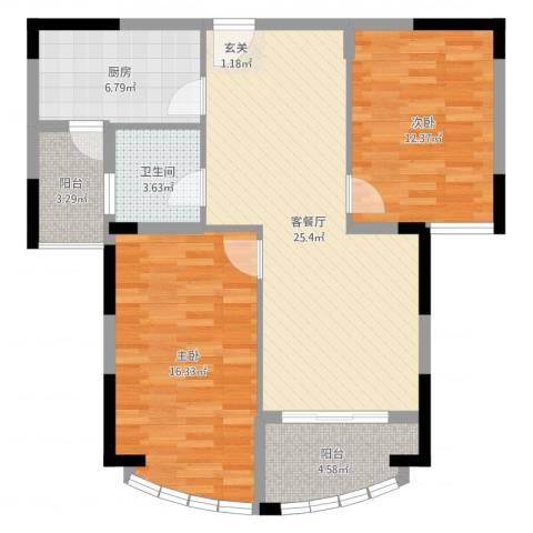 春龙金色海岸2室2厅1卫1厨90.00㎡户型图