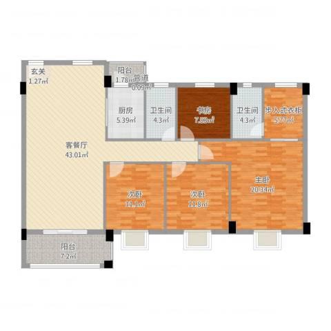 瑜进嘉园4室2厅2卫1厨154.00㎡户型图