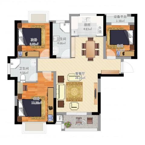 平安光谷春天3室2厅2卫1厨110.00㎡户型图