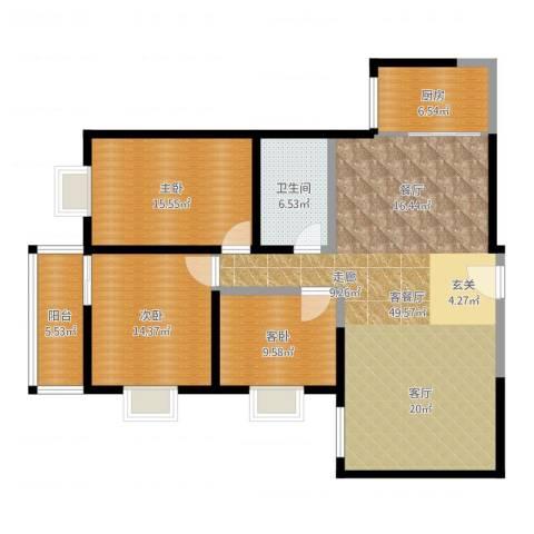 西瑞北国之春3室2厅1卫1厨135.00㎡户型图