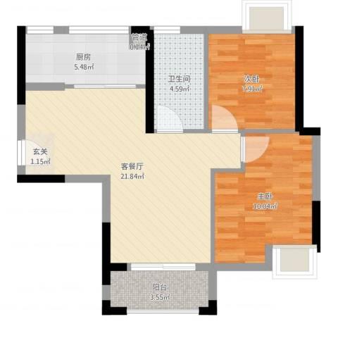 礼顿・金御海湾2室2厅1卫1厨67.00㎡户型图