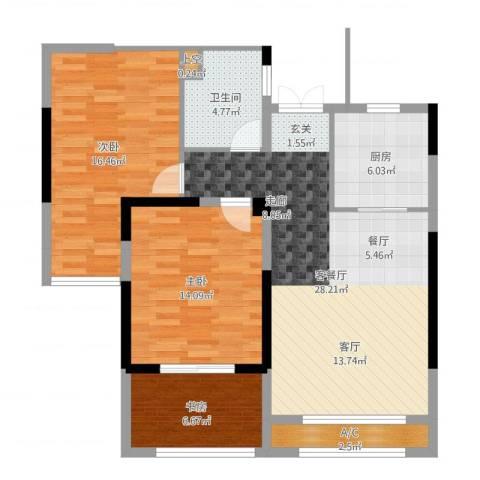 香榭一品3室2厅1卫1厨99.00㎡户型图