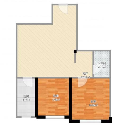 纳帕阳光2室1厅1卫1厨74.00㎡户型图