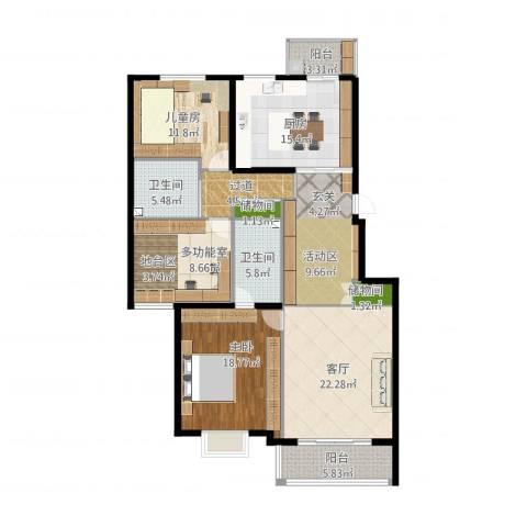 军营凤凰城2室1厅2卫1厨171.00㎡户型图