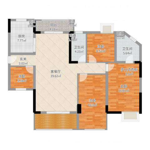 海锦御林苑二期4室2厅2卫1厨145.00㎡户型图