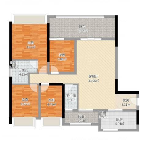 金碧世家4室2厅2卫1厨147.00㎡户型图