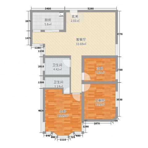 茂兴大厦3室2厅2卫1厨89.00㎡户型图