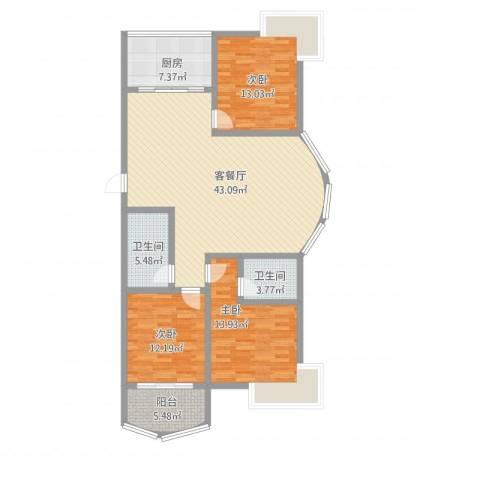 翠月嘉苑3室2厅2卫1厨148.00㎡户型图