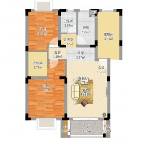 桃园小区2室2厅1卫1厨78.00㎡户型图