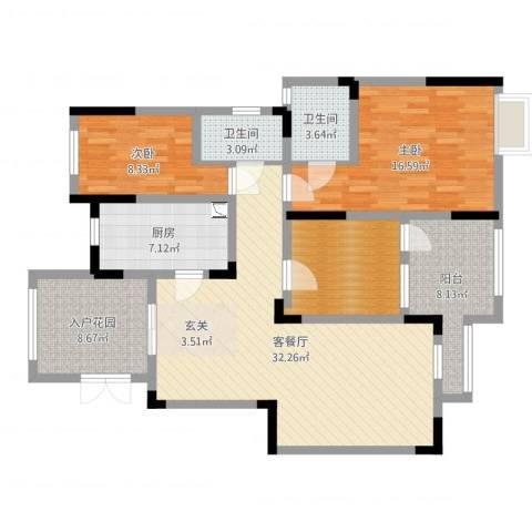 阳光绿城2室2厅2卫1厨121.00㎡户型图
