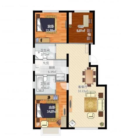 润达万科金域蓝湾3室2厅2卫1厨101.00㎡户型图
