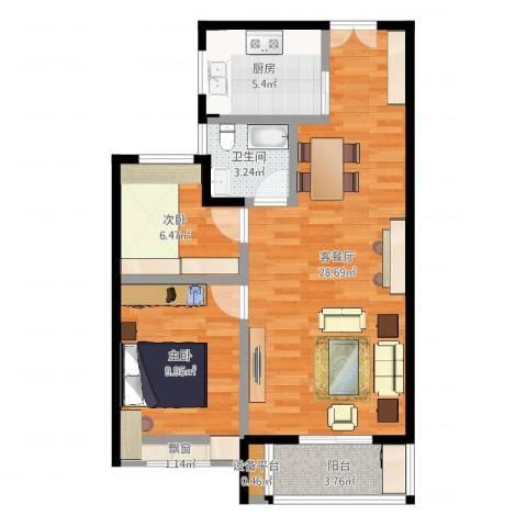 交通紫园2室2厅1卫1厨74.00㎡户型图