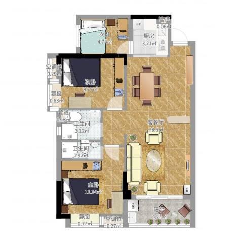 奥园金域3室2厅2卫1厨84.00㎡户型图